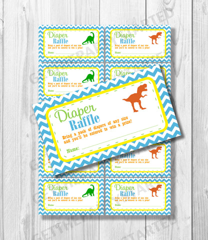 DIAPER RAFFLE TICKETS - Printable Baby Shower Raffle Tickets - Dinosaur Baby Shower - Instant Download - Dinosaur Shower Games - Baby Dino - Get The Party Started