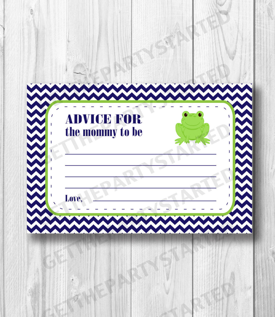 picture regarding Mommy Advice Cards Printable identified as Suggestions Playing cards - Printable Information for the Clean Mother Playing cards - Frog Boy or girl Shower - Prompt Down load - Frog Suggestions Playing cards - Armed forces Inexperienced Frog Shower