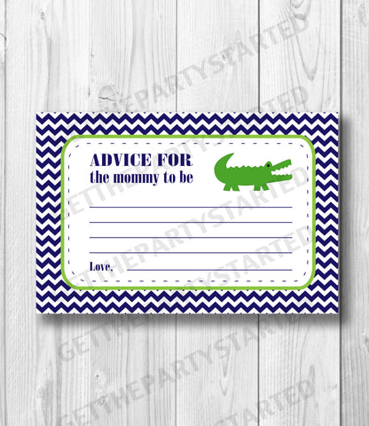 ADVICE CARDS - Printable Advice for the New Mom Cards - Alligator Baby Shower - Instant Download - Crocodile Advice Cards - Navy & Green - Get The Party Started