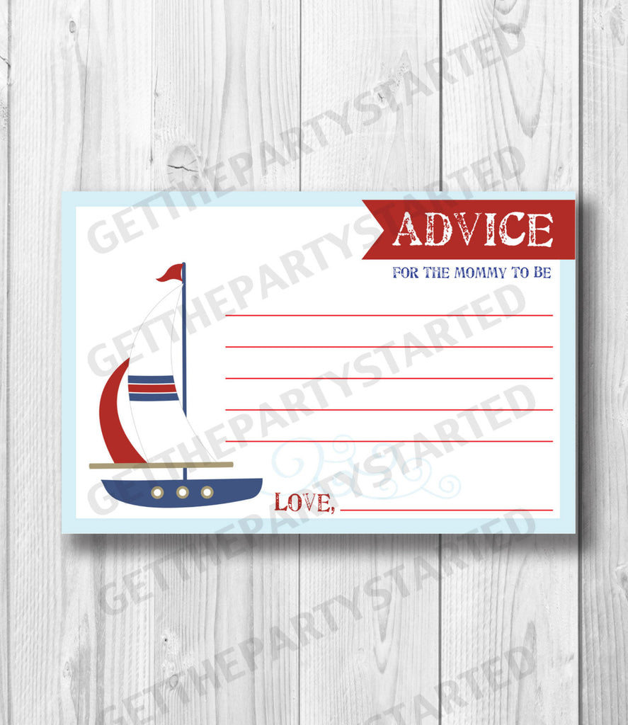 image regarding Mommy Advice Cards Printable referred to as Suggestions Playing cards - Printable Guidance for the Fresh Mother Playing cards - Sailboat Little one Shower - Immediate Obtain - Nautical Suggestions Playing cards - Pink Blue