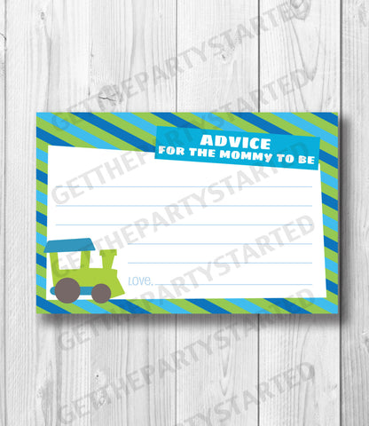 ADVICE CARDS - Printable Advice for the New Mom Cards - Train Baby Shower - Instant Download - Train Advice Cards - Aqua & Green - Baby Boy - Get The Party Started