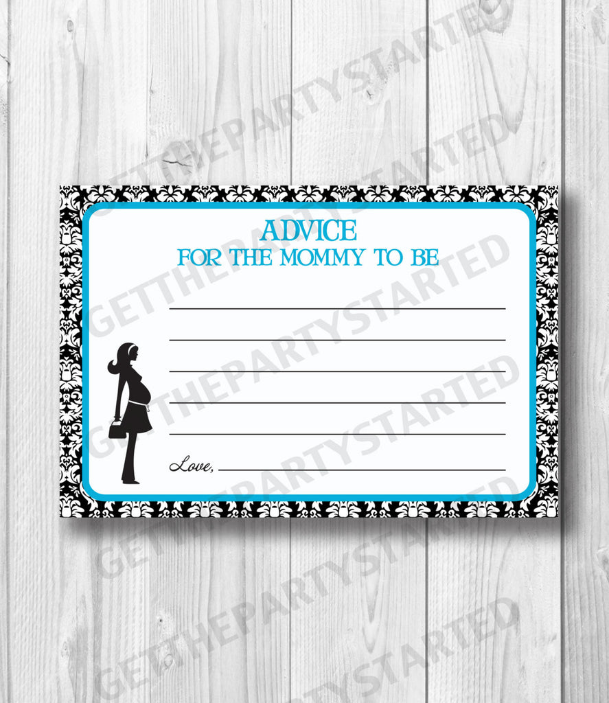 graphic relating to Mommy Advice Cards Printable referred to as Information Playing cards - Printable Information for the Clean Mother - Mother in direction of Be Kid Shower - Immediate Obtain - Guidance Playing cards - Aqua Blue Black Damask Shower