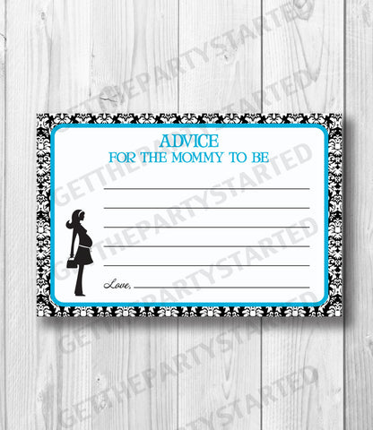 ADVICE CARDS - Printable Advice for the New Mom - Mom to Be Baby Shower - Instant Download - Advice Cards - Aqua Blue & Black Damask Shower - Get The Party Started