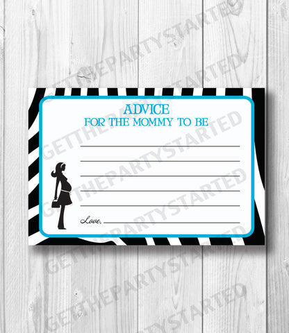 ADVICE CARDS - Printable Advice for the New Mom - Mom to Be Baby Shower - Instant Download - Advice Cards - Aqua Blue & Zebra Baby Shower - Get The Party Started