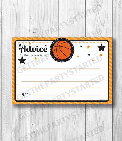 ADVICE CARDS - Printable Advice for the New Mom - Basketball Baby Shower - Instant Download - Basketball Cards - It's a Boy Baby Shower - Get The Party Started