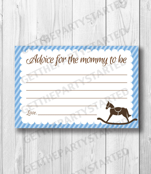 graphic about Mommy Advice Cards Printable named Guidance Playing cards - Printable Tips for the Refreshing Mother - Rocking Horse Youngster Shower - Fast Obtain - Horse Information Playing cards - Blue Brown Shower