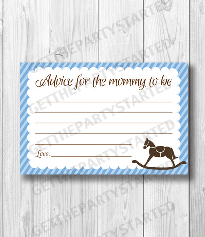 ADVICE CARDS - Printable Advice for the New Mom - Rocking Horse Baby Shower - Instant Download - Horse Advice Cards - Blue & Brown Shower - Get The Party Started
