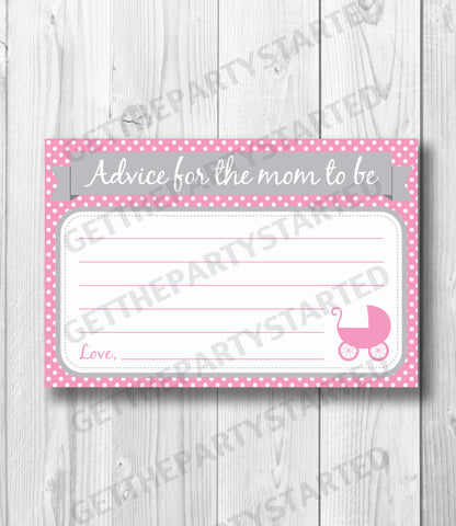 ADVICE CARDS - Printable Advice for the New Mom - Carriage Baby Shower - Instant Download - Girl Baby Shower - Pink & Grey Baby Girl Shower - Get The Party Started