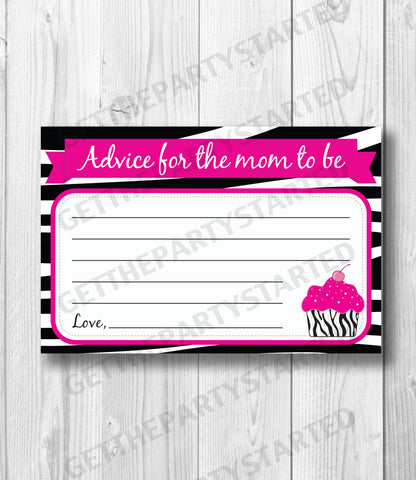 ADVICE CARDS - Printable Advice for the New Mom - Cupcake Baby Shower - Instant Download - Girl Baby Shower - Hot Pink and Zebra Lil Diva - Get The Party Started