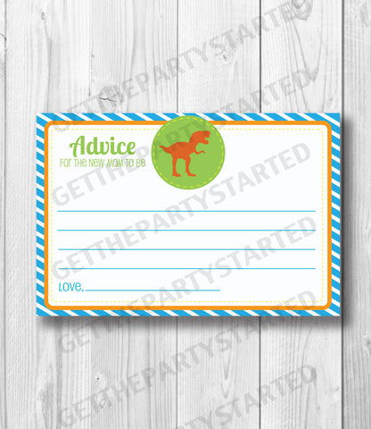 ADVICE CARDS - Printable Advice for the New Mom - Dinosaur Baby Shower - Instant Download - Boy Baby Shower - Printable Dinosaur Shower Game - Get The Party Started