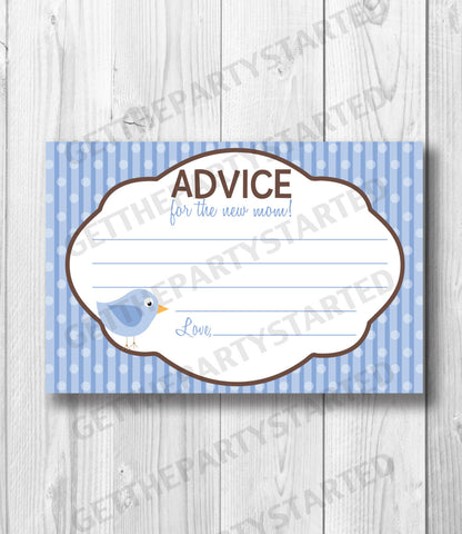 ADVICE CARDS - Printable Advice for the New Mom - Bird Baby Shower - Instant Download - Birdie Baby Shower - Blue and Brown Baby Boy Shower - Get The Party Started
