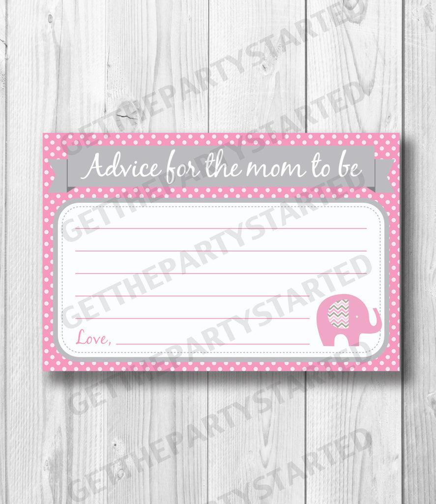 ADVICE CARDS - Printable Advice for the New Mom - Pink Elephant Baby Shower - Instant Download - Girl Baby Shower - Elephant Shower Game - Get The Party Started
