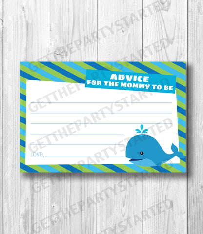 ADVICE CARDS - Printable Advice for the New Mom - Whale Baby Shower - Instant Download - Ocean Baby Shower Game - Whale Printable Game - Get The Party Started