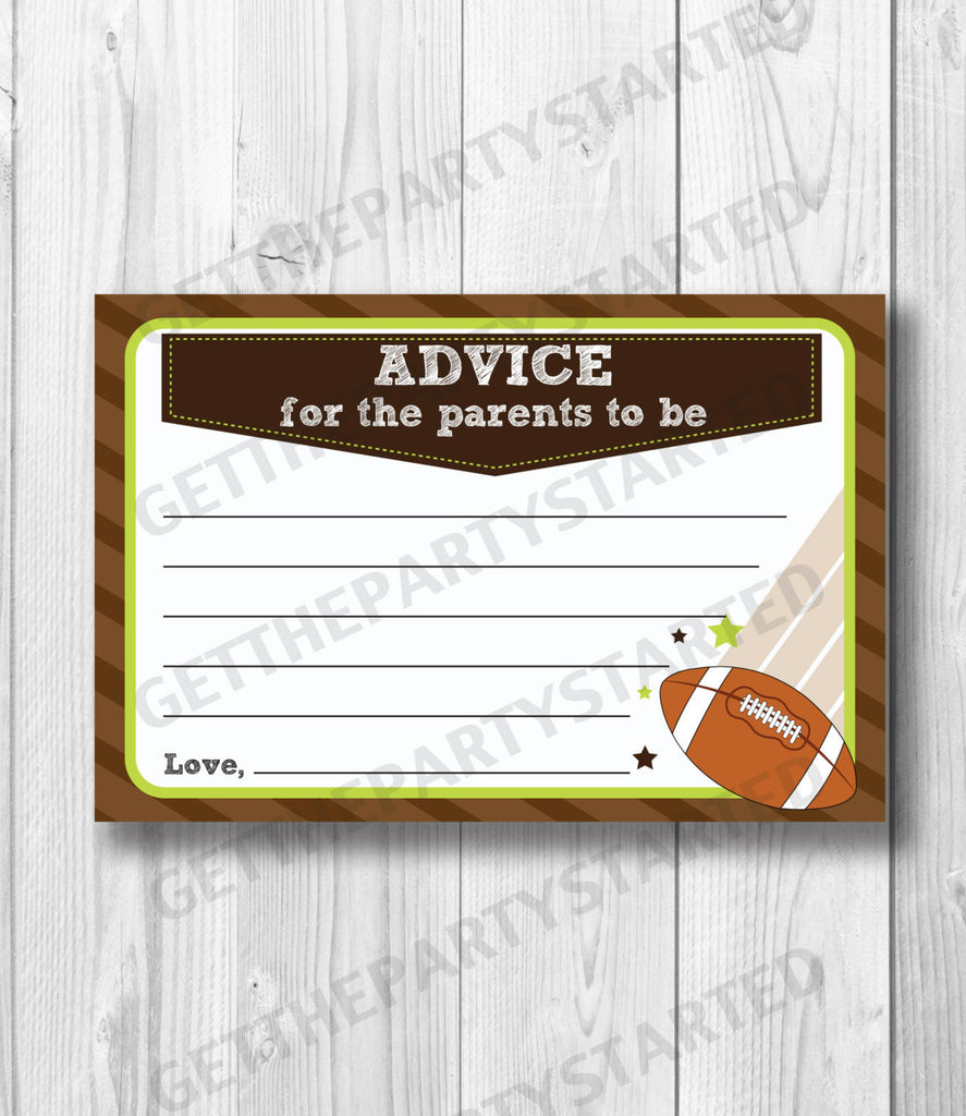 ADVICE CARDS - Printable Advice for the New Mom - Football Baby Shower - Instant Download - Boy Baby Shower - Printable Football Shower Game - Get The Party Started