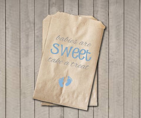 Boy Baby Shower Favor Bags, Babies Are Sweet Bags, Blue Baby Feet Shower Favor Bag, Baby Shower Bags, Baby Shower Candy Buffet - Blue & Grey - Get The Party Started