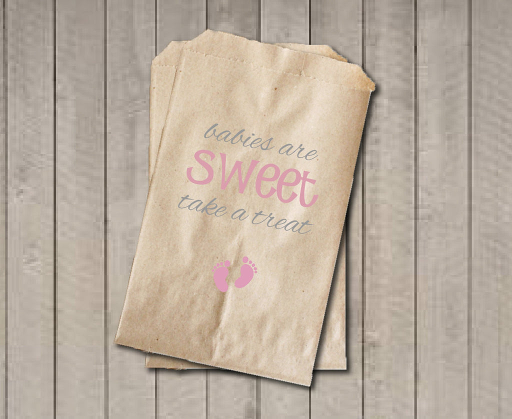 Girl Baby Shower Favor Bags, Babies Are Sweet Bags, Pink Baby Feet Shower Favor Bag, Baby Shower Candy Buffet - Pink & Grey - Get The Party Started