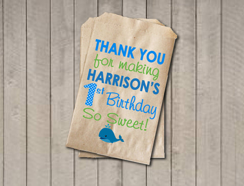 Boy Birthday Favor Bags, Whale Candy Bags, First Birthday Favor Bag, Birthday Candy Bags, Birthday Candy Buffet, Whale Birthday - Get The Party Started