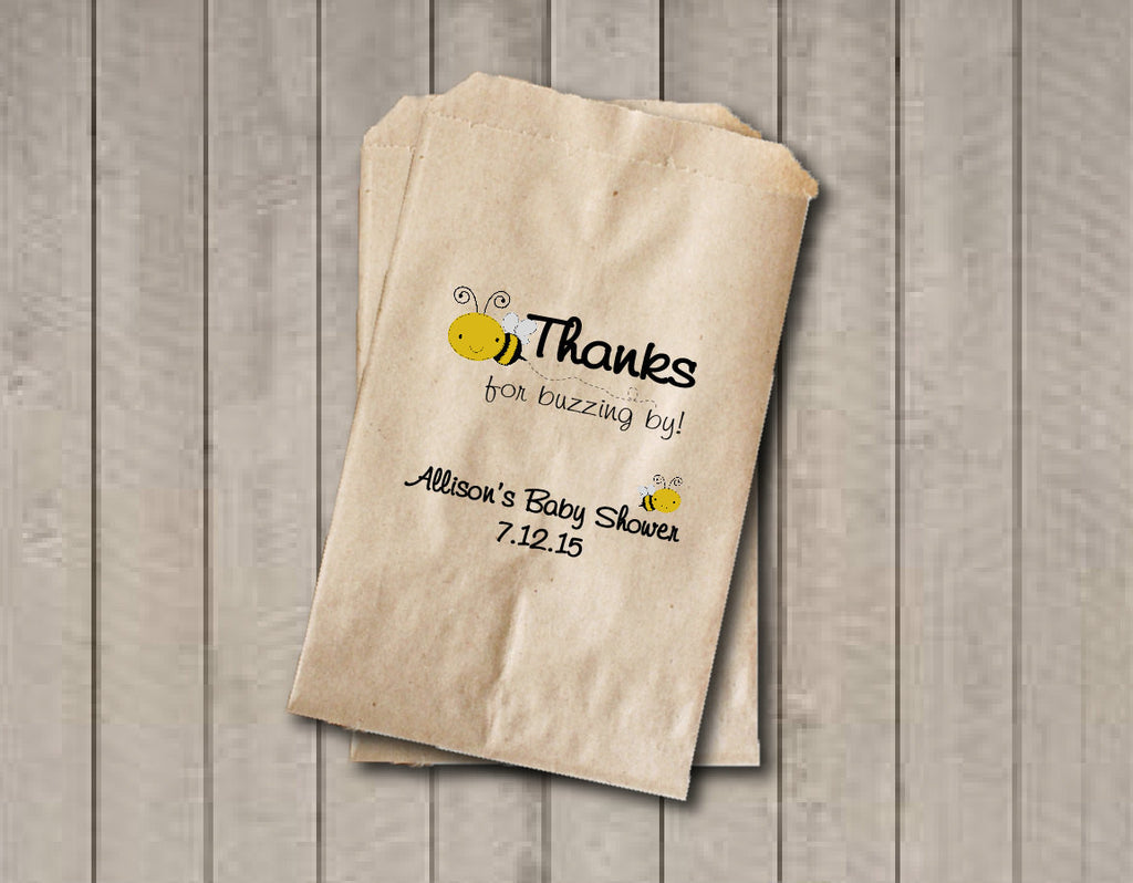 Baby Shower Favor Bags, Gender Neutral Candy Bags, Bee Baby Shower Favor Bag, Baby Shower Bags, Candy Buffet Bags - Yellow & Black - Get The Party Started