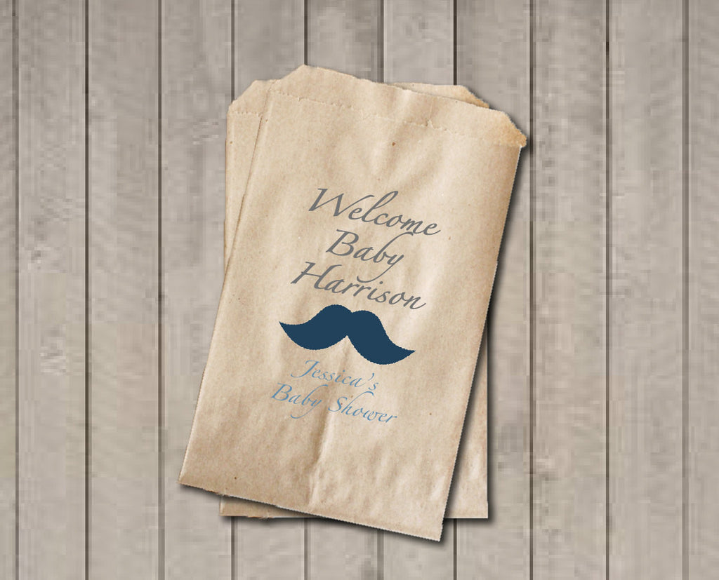 Baby Shower Favors Bags ~ Boy baby shower favor bags welcome baby candy bags mustache