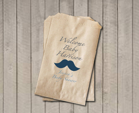 Boy Baby Shower Favor Bags, Welcome Baby Candy Bags, Mustache Shower Favor Bag, Baby Shower Bags, Baby Shower Candy Buffet - Blue & Grey - Get The Party Started