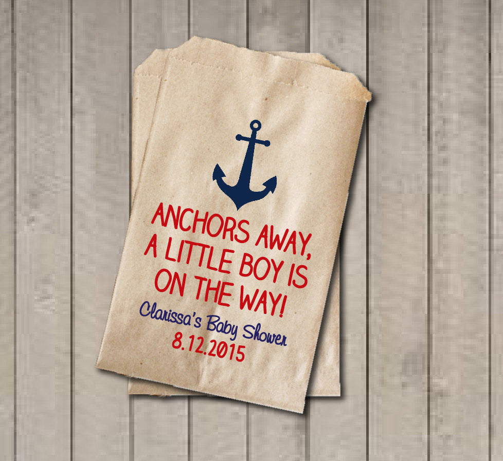 Boy Baby Shower Favor Bags, Anchors Away Bags, Nautical Baby Shower Favor Bag, Nautical Candy Bags, Baby Shower Candy Buffet - Navy & Red - Get The Party Started