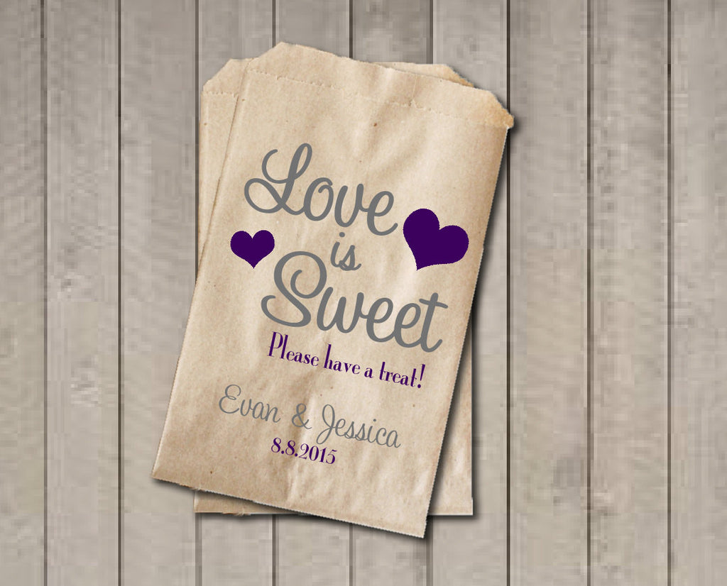 Wedding Favor Bags, Love is Sweet Favor Bags, Personalized Wedding Candy Bags, Wedding Candy Buffet Bags - Purple & Grey - Get The Party Started