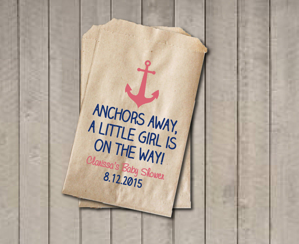 Girl Baby Shower Favor Bags, Nautical Favor Bags, Baby Shower Bags, Nautical Candy Bags, Baby Shower Candy Buffet - Coral Pink & Navy - Get The Party Started