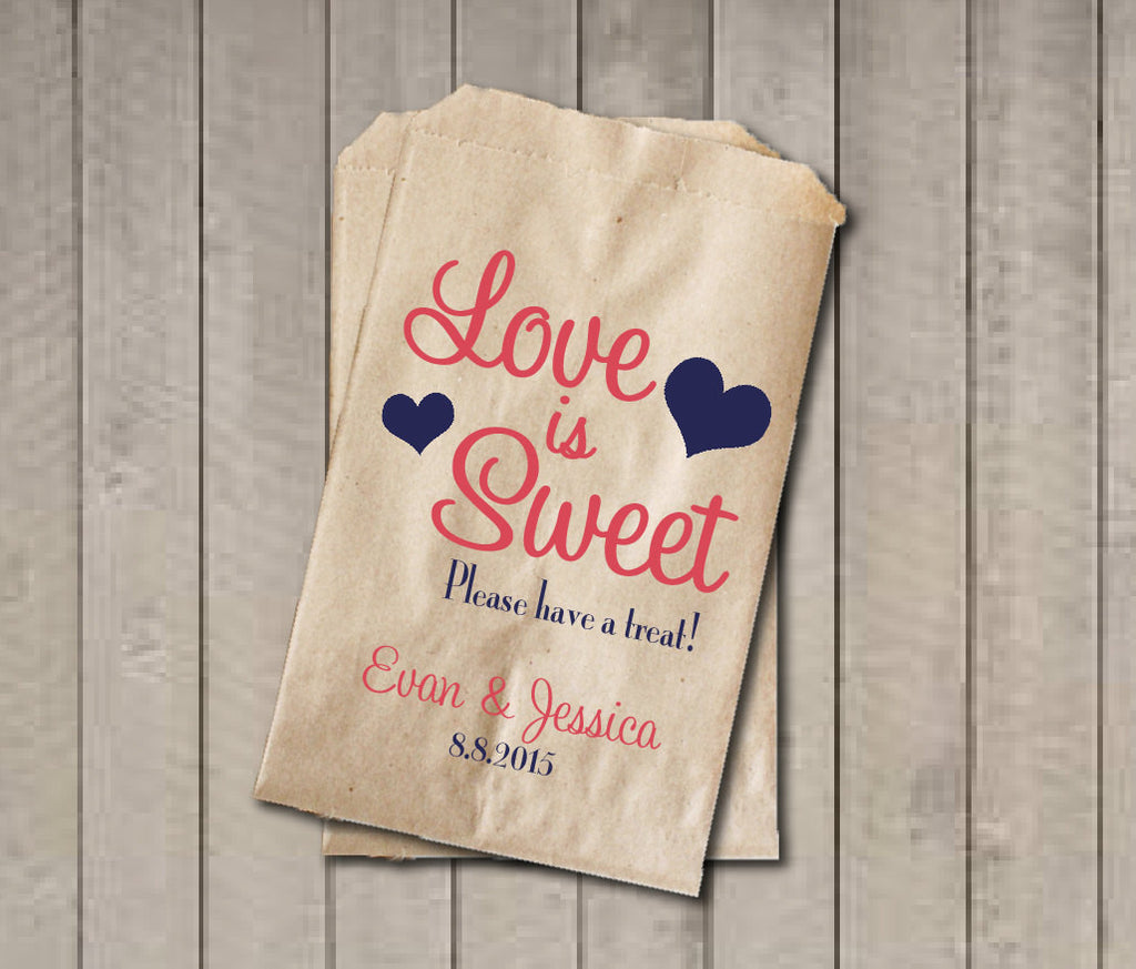 Wedding Favor Bags, Love is Sweet Favor Bags, Personalized Wedding Candy Bags, Wedding Candy Buffet Bags - Coral & Navy - Get The Party Started
