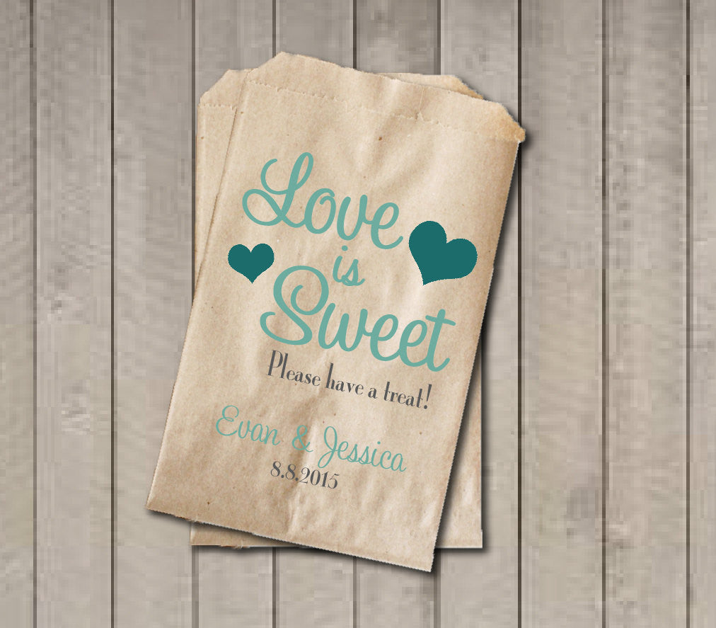 Wedding Favor Bags, Love is Sweet Favor Bags, Personalized Wedding Candy Bags, Wedding Candy Buffet Bags - Teal Green - Get The Party Started