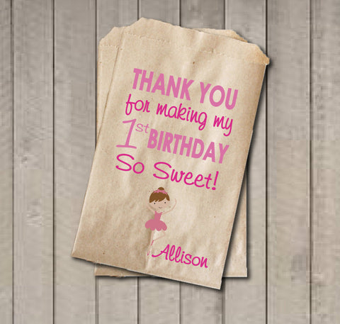 Girl Birthday Favor Bags, Ballerina Candy Bags, First Birthday Favor Bag, Birthday Candy Bags, Ballerina Birthday Candy Buffet - Get The Party Started