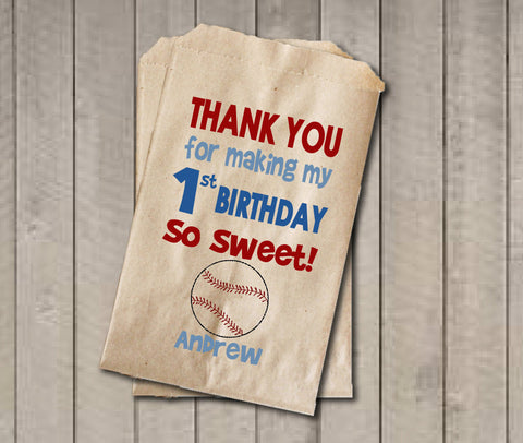Boy Birthday Favor Bags, Baseball Candy Bags, First Birthday Favor Bag, Birthday Candy Bags, Birthday Candy Buffet, Baseball Birthday - Get The Party Started