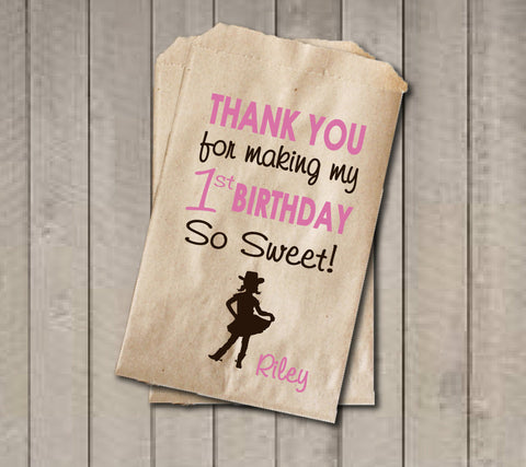 Girl Birthday Favor Bags, Pink & Brown Cowgirl Candy Bags, First Birthday Favor Bag, Birthday Candy Bags, Cowgirl Birthday Candy Buffet - Get The Party Started