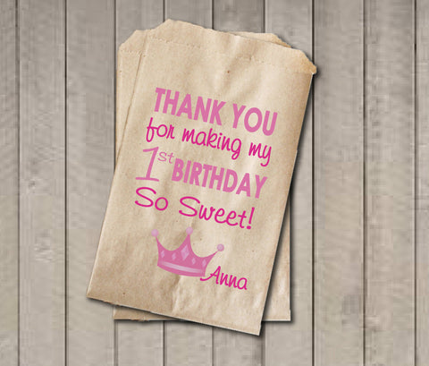Girl Birthday Favor Bags, Princess Candy Bags, First Birthday Favor Bag, Birthday Candy Bags, Princess Birthday Candy Buffet - Get The Party Started