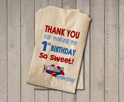Boy Birthday Favor Bags, Airplane Candy Bags, First Birthday Favor, Birthday Candy Bags, Birthday Candy Buffet, Red & Blue Airplane Birthday - Get The Party Started