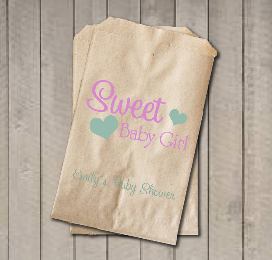 Girl Baby Shower Favor Bags, Sweet Baby Girl Bags, Custom Baby Shower Bags, Baby Shower Candy Buffet - Light Pink & Mint Green - Get The Party Started