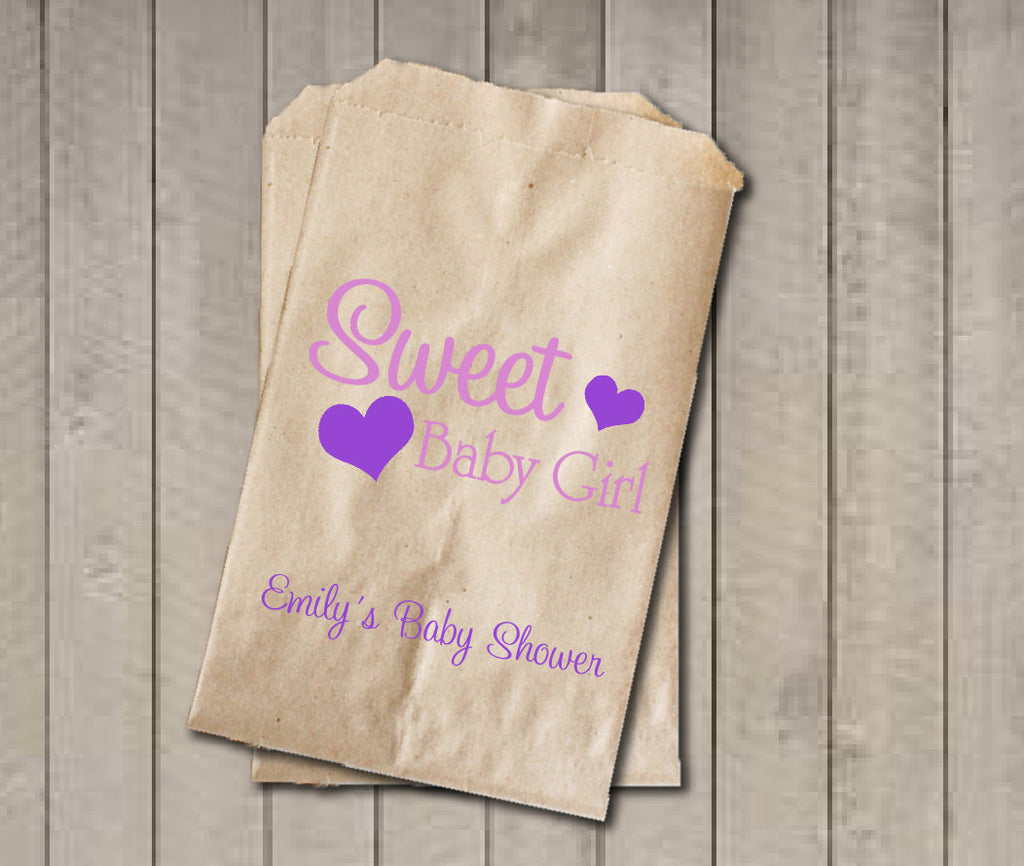 Girl Baby Shower Favor Bags, Sweet Baby Girl Bags, Custom Baby Shower Bags, Baby Shower Candy Buffet - Pink & Purple - Get The Party Started