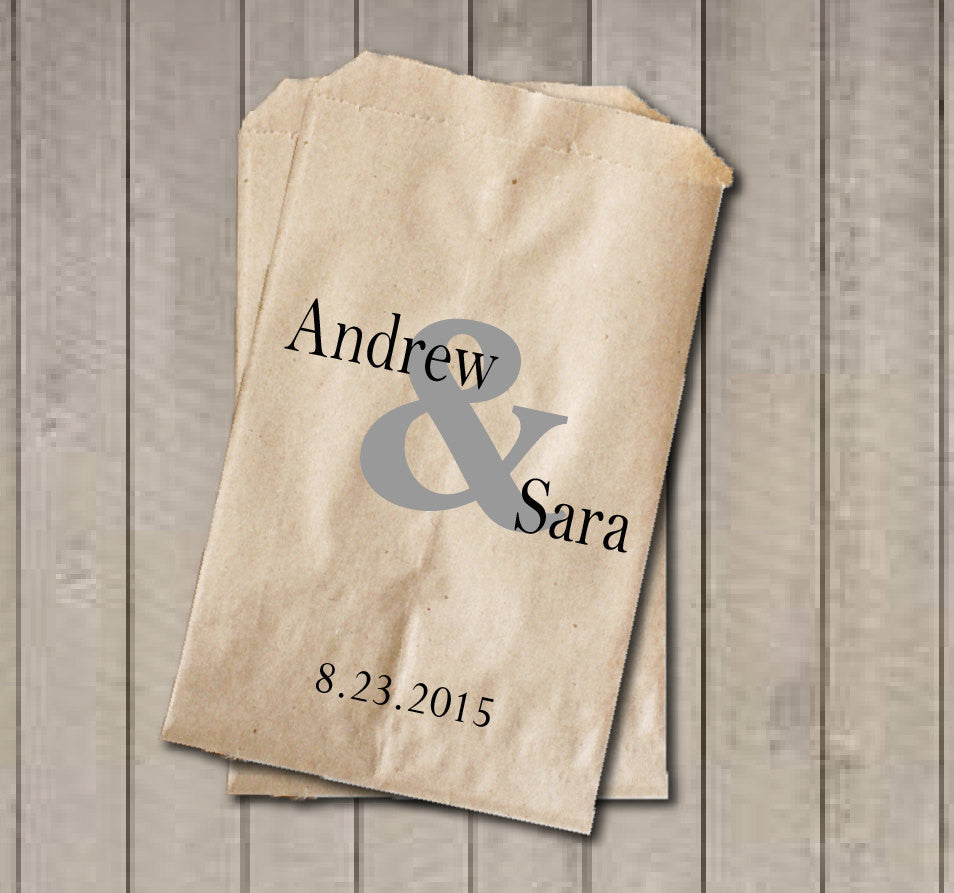 Personalized Favor Bags, Ampersand Wedding Favor Bags, Wedding Candy Bags, Engagement Party, Bridal Shower, Candy Buffet Bags - Get The Party Started
