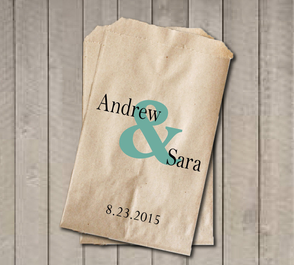 Personalized Favor Bags, Ampersand Wedding Favor Bags, Wedding Candy Bags, Engagement Party, Bridal Shower, Candy Buffet Bags - Teal - Get The Party Started