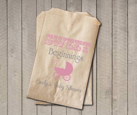 Girl Baby Shower Favor Bags, Sweet Beginnings Bags, Baby Carriage Favor Bag, Custom Baby Shower Bags, Baby Shower Candy Buffet - Pink & Grey - Get The Party Started
