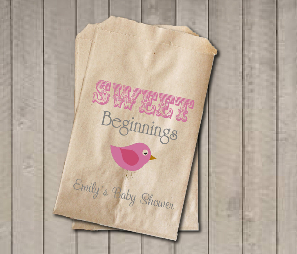 Girl Baby Shower Favor Bags, Sweet Beginnings Bags, Baby Bird Favor Bag, Custom Baby Shower, Baby Shower Candy Buffet - Pink & Grey Birdie - Get The Party Started