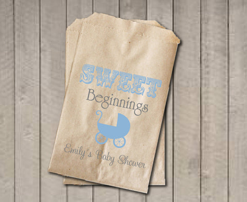 Boy Baby Shower Favor Bags, Sweet Beginnings Bags, Baby Carriage Favor Bag, Custom Baby Shower Bags, Baby Shower Candy Buffet - Blue & Grey - Get The Party Started