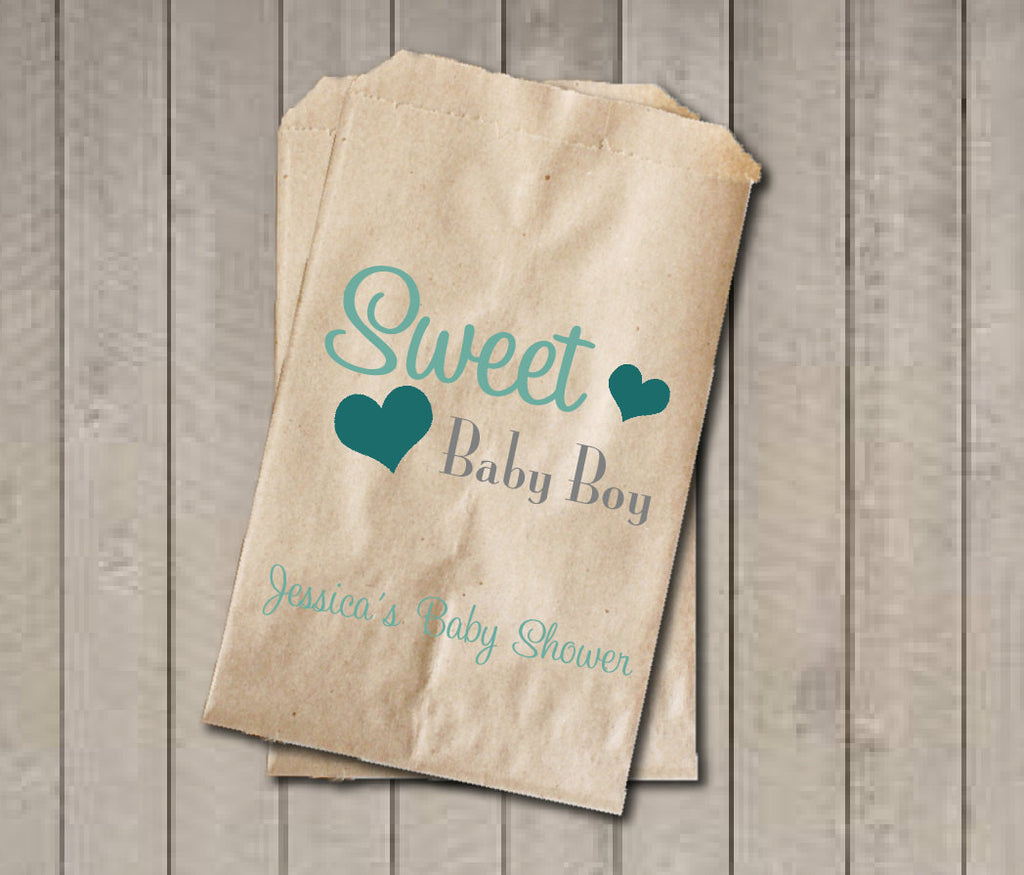 Boy Baby Shower Favor Bags, Sweet Baby Boy Bags, Custom Baby Shower Bags, Baby Shower Candy Buffet - Teal & Grey - Get The Party Started