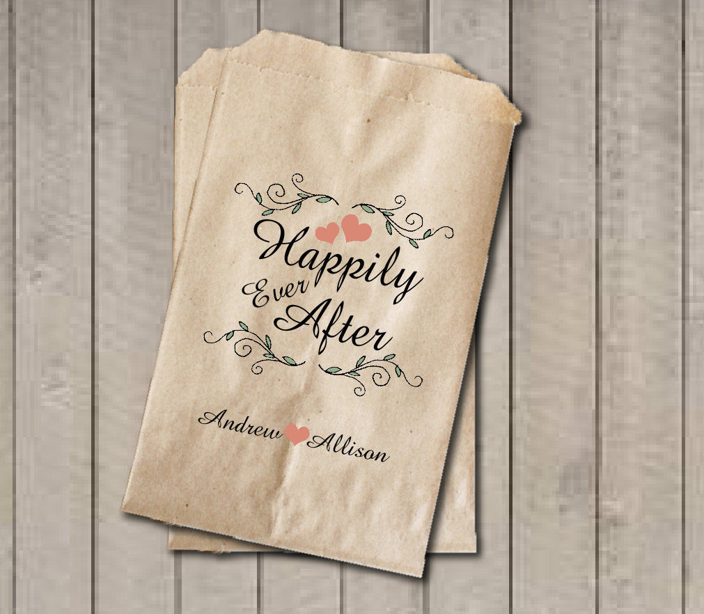 Rustic Wedding Favor Bags, Happily Ever After Favor Bags, Personalized Wedding Candy Bags, Fairytale Wedding Candy Buffet Bags - Get The Party Started