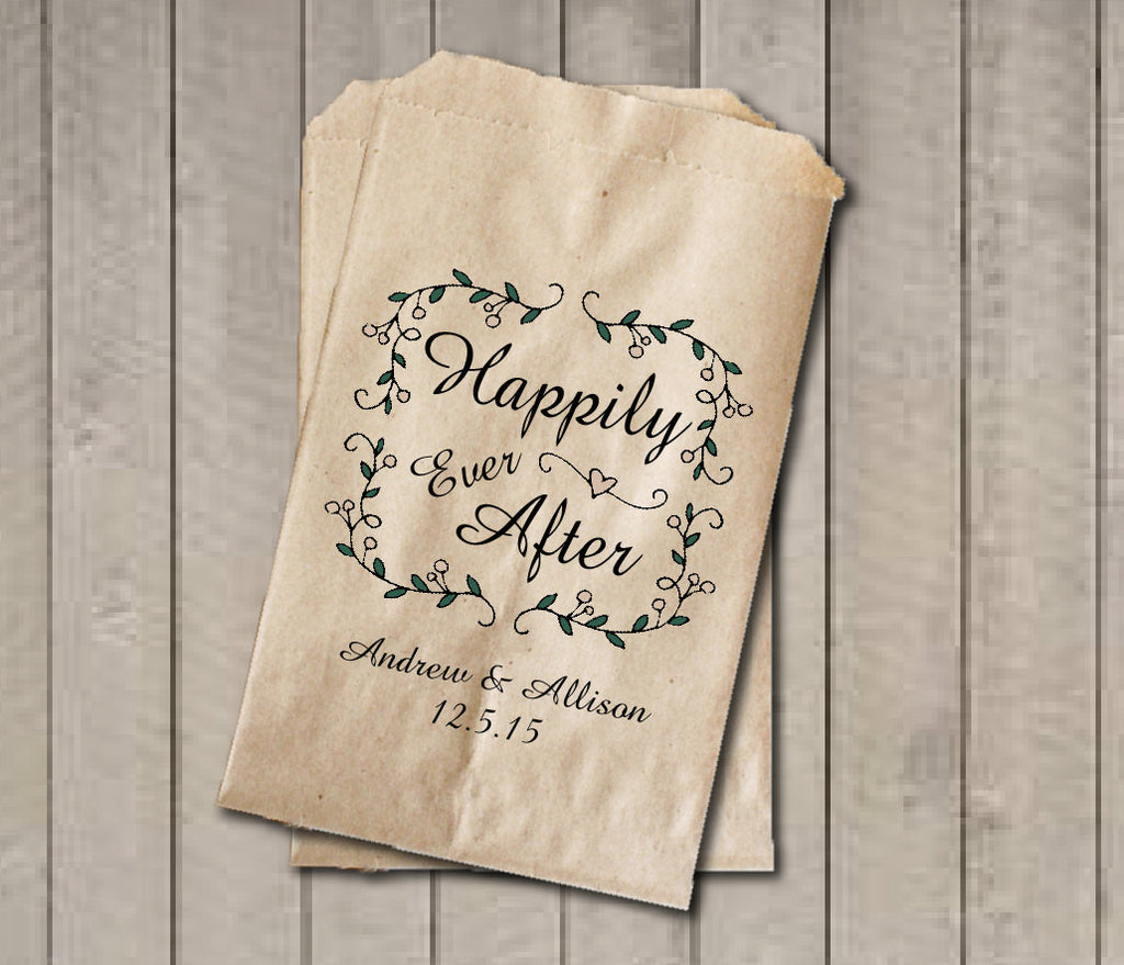 Fairytale Garden Rustic Wedding Favor Bags, Happily Ever After Favor Bags, Personalized Wedding Candy Bags, Vintage Wedding Candy Buffet Bag - Get The Party Started