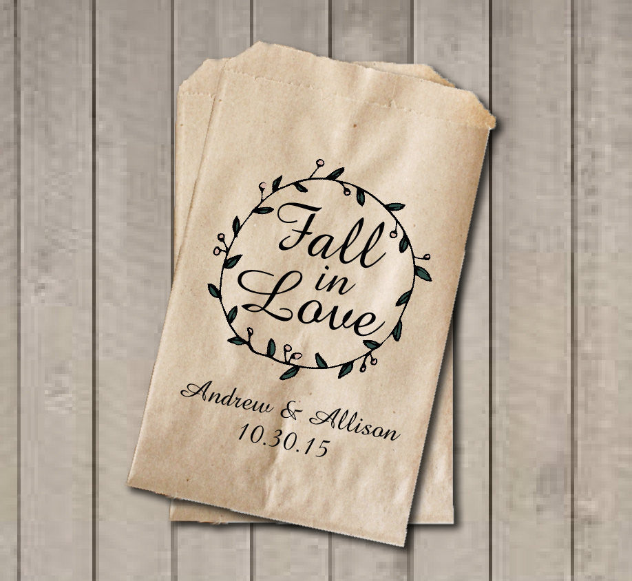 Rustic Wedding Favor Bags, Fall in Love Favor Bags, Personalized Wedding Candy Bags, Fairytale Wedding Candy Buffet Bags, Fall Wedding - Get The Party Started