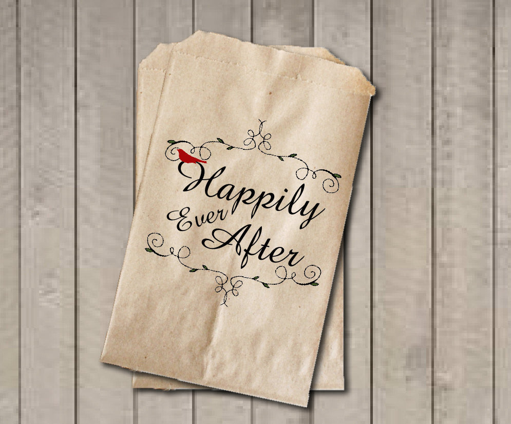 Rustic Winter Wedding Favor Bags, Happily Ever After Favor Bags, Vintage Rustic Wedding Candy Bags, Fairytale Wedding Candy Buffet Bags - Get The Party Started