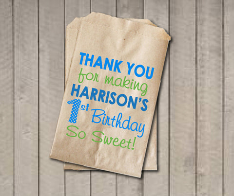 Boy Birthday Favor Bags, Candy Bags, First Birthday Favor Bag, Birthday Candy Bags, Birthday Candy Buffet, Birthday Treat Bag Blue & Green - Get The Party Started