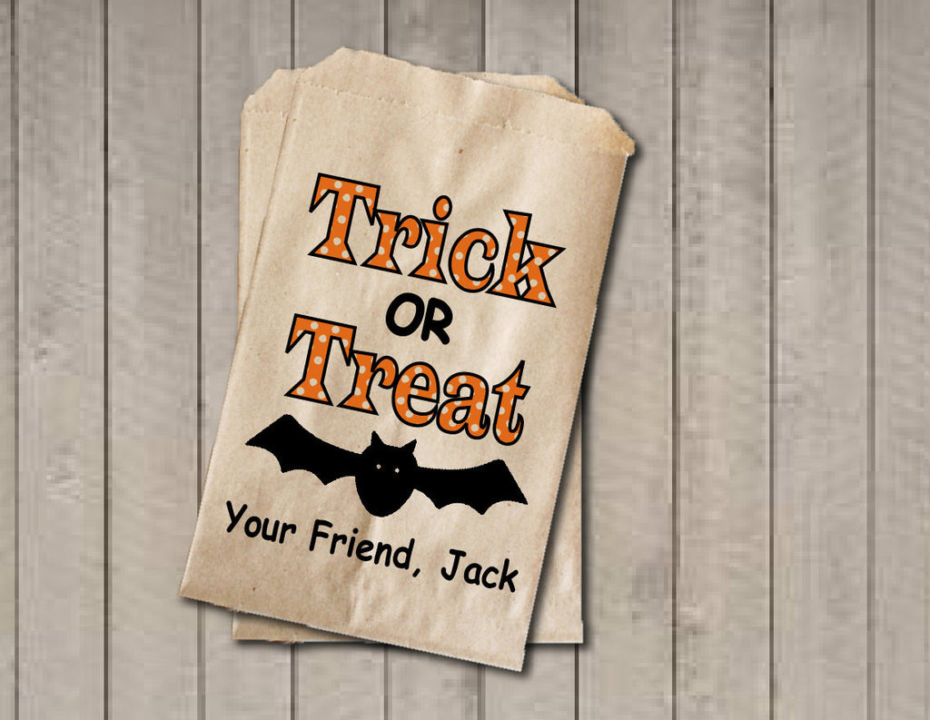 Trick Or Treat Candy Bags, Candy Bags, Halloween Favor Bag, Kids Classroom Exchange, Halloween Treat Bag, Halloween Party - Orange & Black - Get The Party Started