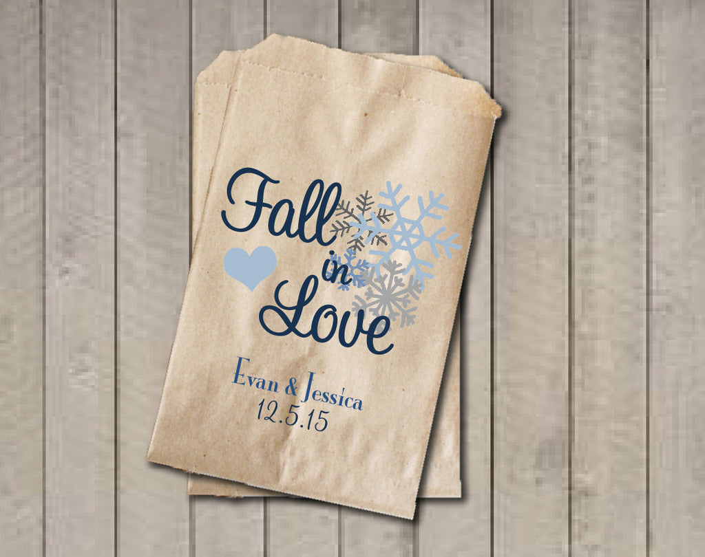 Wedding Favor Bags, Fall in Love Favor Bags, Personalized Wedding Candy Bags, Winter Wedding Candy Buffet Bags - Blue Snowflakes - Get The Party Started