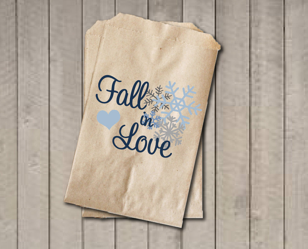 Wedding Favor Bags, Fall in Love Favor Bags, Wedding Candy Bags, Winter Wedding Candy Buffet Bags - Blue Snowflakes Engagement Bridal Shower - Get The Party Started